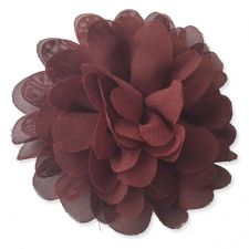 10cm Pompom Bloom CHOCOLATE BROWN Fabric Flower Applique